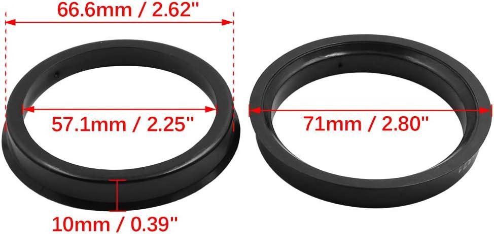 X AUTOHAUX 4 unidades color negro Anillos centrados para cubo de coche centro de 66,6 a 57,1 mm