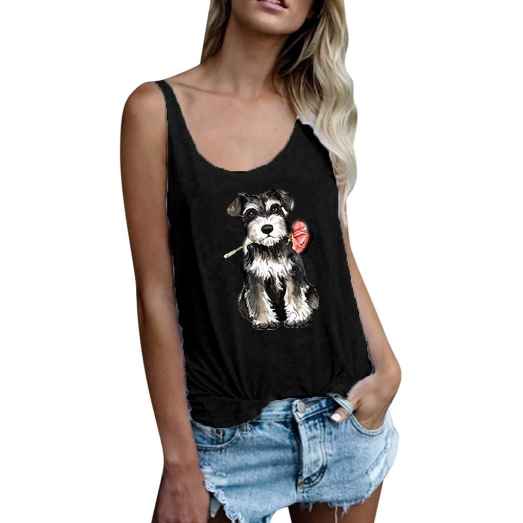Lmx+3f Women Casual Dog Rose Print Vest Crop Tank Tops Sleeveless Loose Blouse T-Shirt Solid Color Soft Comfy Top
