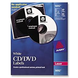 Avery White CD Labels for Laser Printers, 40 Disc Labels and 80 Spine Labels (5692)