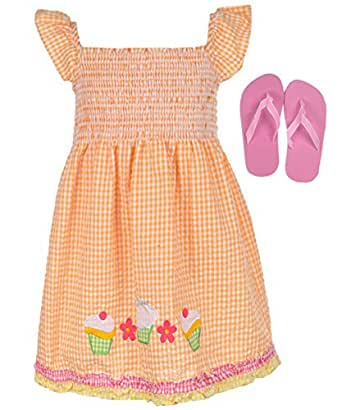 "Real Love Little Girls' ""Gingham Cupcake"" Dress with Flip-Flops - orange, 4"