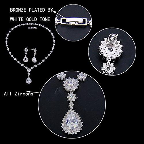 Ever Faith - Plaqué Argent Zircon Marguerite Fleur Collier Boucle d'Oreilles Parures Clair N07573-1