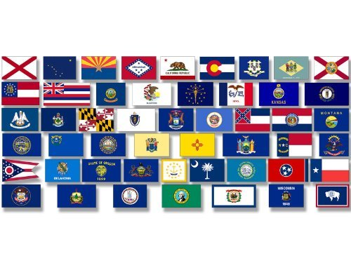 American Vinyl Sheet of Small All 50 US State Flags Stickers (Pack Scrapbooking Set Scrapbook)