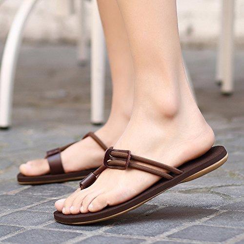 uomo piastra sandali pantofole in marrone e da LIN coreano uomo pantofole maschio sandali piede spiaggia Xing pelle scarpe Ep1Hqw4wv