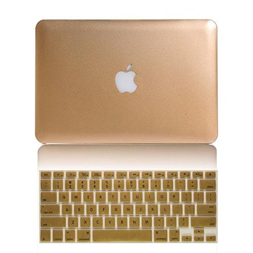 (New Arrival! 2in1 Gold Champagne Frosted Matte Hard Case Cover (Cut Off/Out Logo) for Macbook Air 13