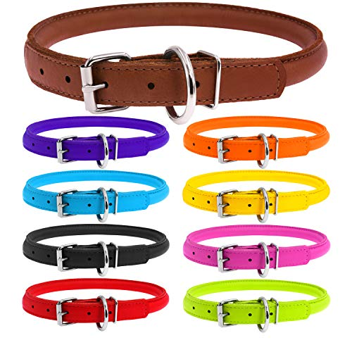 WAUDOG Rolled Leather Dog Collar - Round Dog Collars for Small Medium Large Dogs Thin Dog Collar - Soft Plus (X-Large 20 4/5