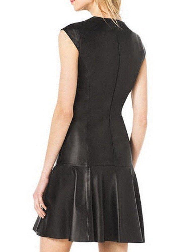 Angel/&Lily Drop-Skirt Cap-Sleeve Faux Leather Dress Plus 1x-10x