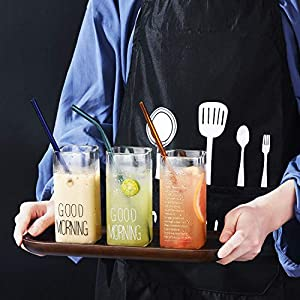 ALINK Reusable Glass Smoothie Straws, 10 x 10 mm Long Colored Drinking Straws for Smoothie, Milkshakes, Frozen Drinks, Pack of 8 with 2 Cleaning Brush (Color: Colored, Tamaño: 10mm Wide)