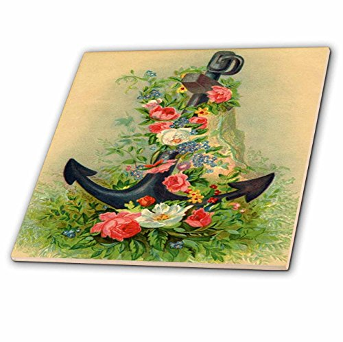3dRose Spring Flowers - Image of Vintage Anchor Covered In Flowers - 6 Inch Glass Tile (ct_280007_6) from 3dRose