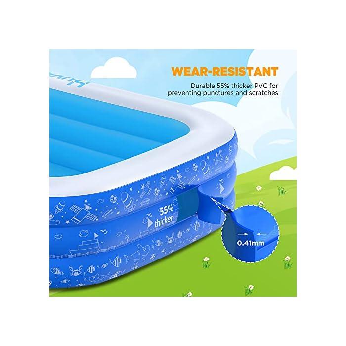 51nsLtq8nvS La piscina inflable tiene capacidad para 2 adultos y 3 niños (300 x 180 x 56cm) para disfrutar de una fiesta en la piscina en el patio trasero. Las criaturas marinas, los transbordadores espaciales y otros patrones de la superficie aumentan la diversión entre padres e hijos La Hyvigor piscina hinchable fabricada de material de PVC de alta resistencia que protege el medio ambiente, espesor 0.4 mm, un 50% más gruesa que la mayoría del mercado, lo que reduce el riesgo de pinchazos y garantiza una larga vida útil 3 cámaras de aire individuales de la piscina pueden soportar un peso adicional al tiempo que evitan las fugas de aire, sin deformación a altas temperaturas, utilizable en la playa