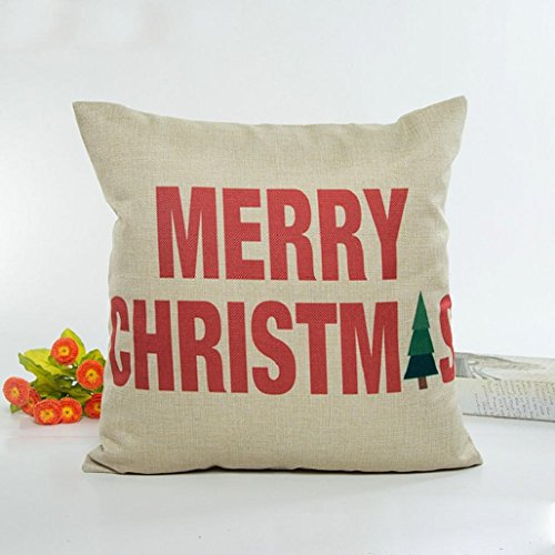 Christmas 's Pillow Case, Flax Pillow Case Cushion Cover Home Decor Good Christmas 's Gift ,18 X 18 Inch ,Tuscom (Beige)