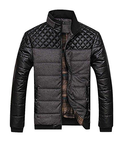 CELINO Men's Panelled Dark Eclectic Quilt High Neck Plaid Lining Warm Puff Parka, Gray M ,Manufacturer(XL)