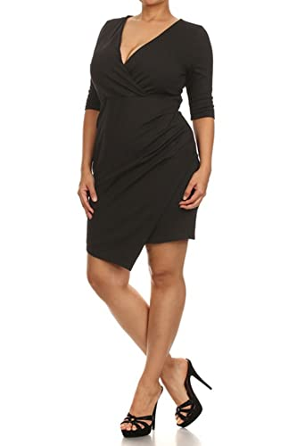 (Plus Size) Solid Color Sleeveless Draped Dress (MADE IN U.S.A)
