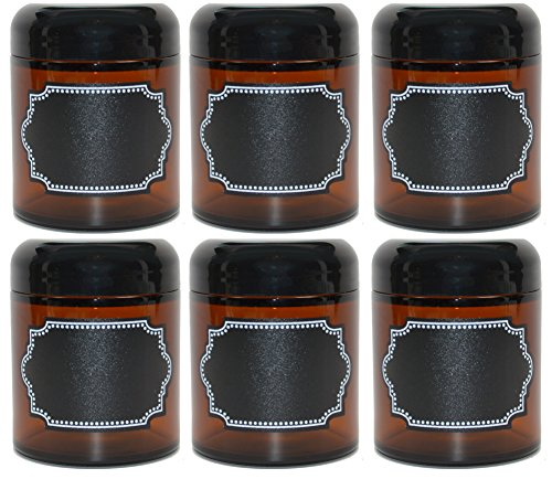 6 Pack Firefly Craft Amber Glass Apothecary Salve Jars, 4 ounces each
