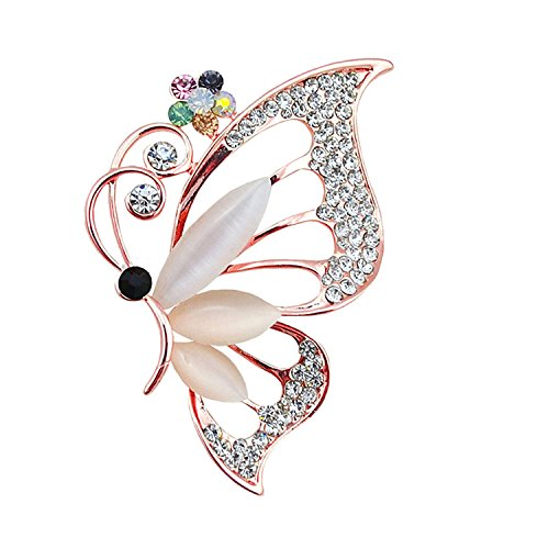 PANGRUI Exquisite Clear Crystal Rhinestone Butterfly Insect Brooch Pins Jewelry (Rose Gold)