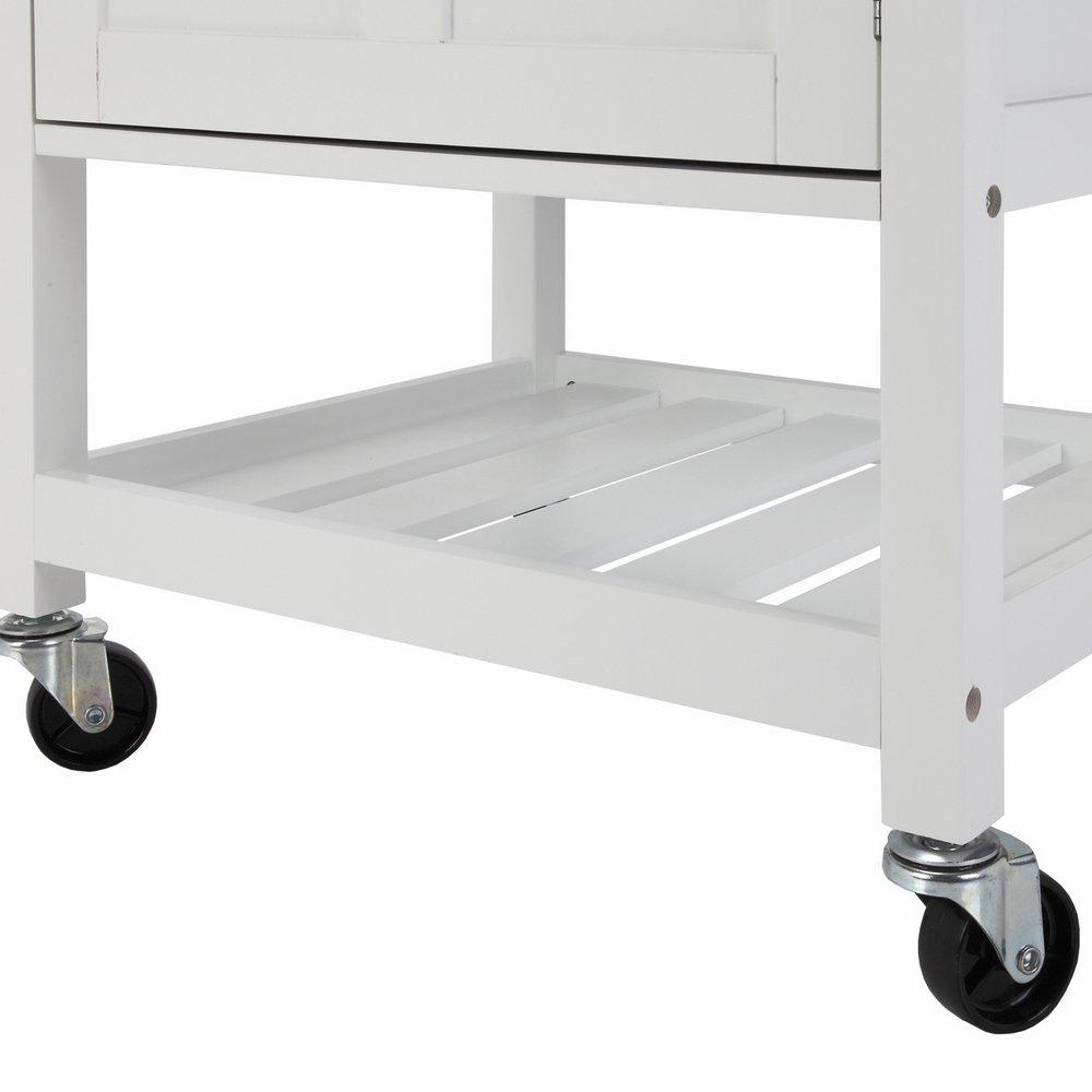 Homegear deluxe kitchen storage cart island w rubberwood cutting block - Amazon Com Homegear Compact Kitchen Storage Cart Island With Rubberwood Cutting Block White Kitchen Dining