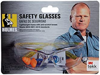 3M TEKK Protection Holmes Workwear Safety Glasses, Yellow Frame with CSS Clear Lens