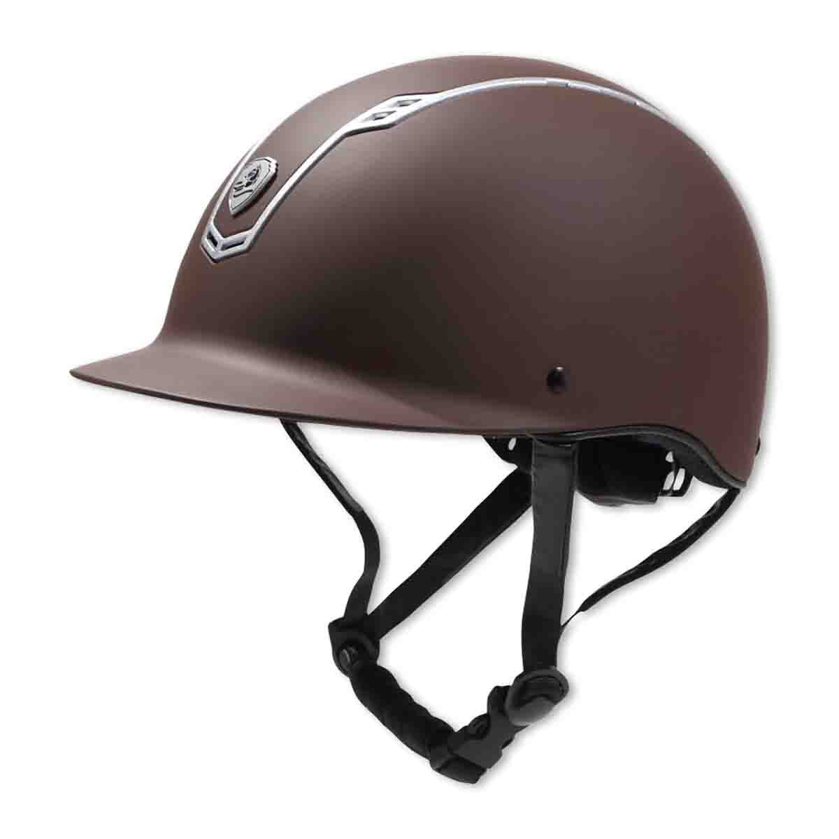 乗馬用品 EQULIBERTA ソリッド ダイヤル調整ヘルメット ブラウン/マットシルバー 乗馬 馬具 ブラウン/マットシルバー Small