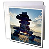 3dRose Danita Delimont - Travel - Canada, B.C., Russell Island. Rock Inukshuk backlit from the sunset. - 6 Greeting Cards with envelopes (gc_277230_1)