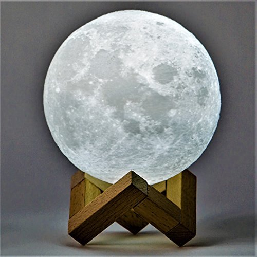 3D Printed LED Lunar Moon Night Light, Rechargeable 4.9 inch Diameter Lamp with Touch Control Dimming and Wood Stand