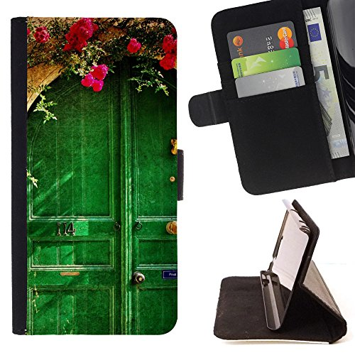 God Garden - FOR Apple Iphone 6 PLUS 5.5 - Picturesque Old House - Glitter Teal Purple Sparkling Watercolor Personalized Design Custom Style PU Leather Case Wallet Fli