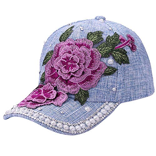 - Discount Baseball Cap!Women Men Adjustable Flower Rhinestone Denim Mesh Cap Hat