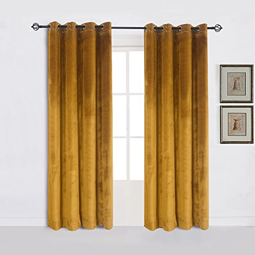 Yellow Side Panels - Super Soft Luxury Velvet Set of 2 Warm Yellow Blackout Energy Efficient Grommet Curtain Panel Drapes Ginger Mustard Curtain Panels 52Wx84L(2 panels)
