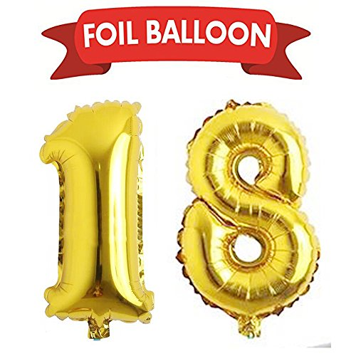 18th birthday party supplies 18th Gold Number Balloons foil helium balloons,birthday decorations 18th anniversary gifts.(40inch gold number (Large Helium Number Balloons)