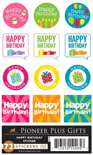 Amazon.com: Sud acid-free Feliz cumpleaños 72 pegatinas – 12 ...