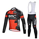 Animee123 Cycling Jerseys Long Sleeves Thermal Fleece Shirts Men Winter ciclismo Maillot Jacket Red (Bib Suit, S)