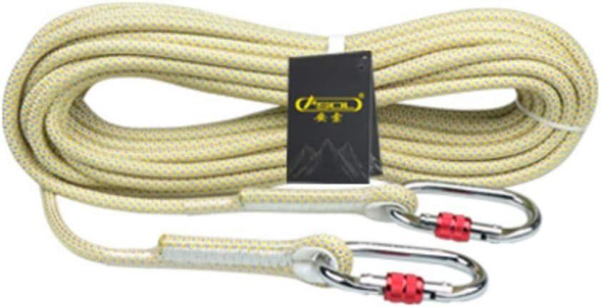 クライミングハーネス 柔軟な低ポリエステル屋外安全ロープ、直径10.5mmの落下防止ロープ、二重層の耐摩耗性のしっかりと編まれた安全ロープ、青と黄色のオプションの空中作業ロープ (Color : 黄, Size : 10.5mm-30m) 黄 10.5mm-30m