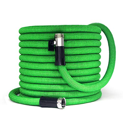 Garden Hose 100FT New Expandable Flexible Garden Hose with Nickel Plated, 3/4″ Solid Brass Fittings, Double Latex Core, Lightweight and Kink Free Flexible Water Hose with Storage Bag-Green