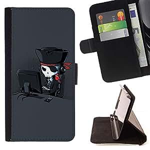 For HTC One A9 Case , Pirata divertido fresco internet- la tarjeta de Crédito Slots PU Funda de cuero Monedero caso cubierta de piel