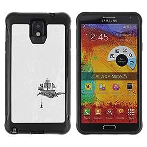 "Pulsar iFace Series Tpu silicona Carcasa Funda Case para SAMSUNG Galaxy Note 3 III / N9000 / N9005 , Ancla de la nave Art Velas Dibujo Negro Blanco"""