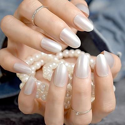 EchiQ - uñas postizas de perlas blancas y brillantes, pequeñas y ...