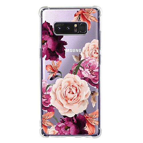 Galaxy Note 8 Case for Women Clear with Cute Flowers Design Shockproof Protective Case for Samsung Galaxy Note 8 Floral Cell Phone Back Cover Girls Flexible Slim Fit Rubber Cases (Mobile Phone Back Cover)
