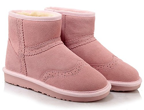 Summerwhisper Booties on Shoes Leather Warm Fleece Slip Skid Round Boots Women's Ankle Toe Anti Lined Pink Snow Flats Short rTwqr6z