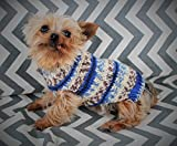 Rustic Dog Puppy Sweater Dress XXS/XS 3 to 5 Lbs Fair Isle in Blue Chihuahua Yorkie Pomeranian Maltese Toy Teacup Breed