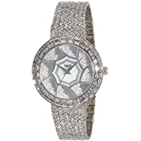 Burgi Women's BUR118SS Stainless Steel Watch with Textured Link Bracelet