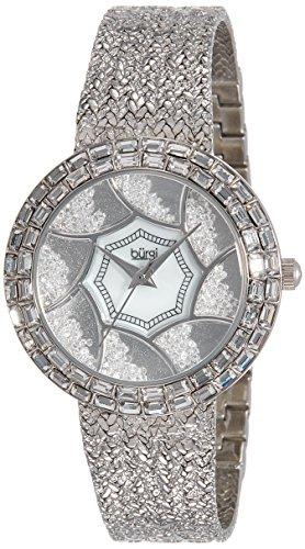 Burgi Women's BUR118SS Stainless Steel Watch with Textured Link Bracelet