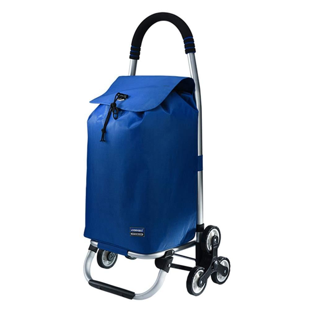 ショッピングカート折りたたみトロリー、商業トロリー家庭用食料品カート、多機能高齢者登山階段屋外旅行荷物カート (Color : BLUE, Size : 32*38*91CM) B07S1KB41G BLUE 32*38*91CM