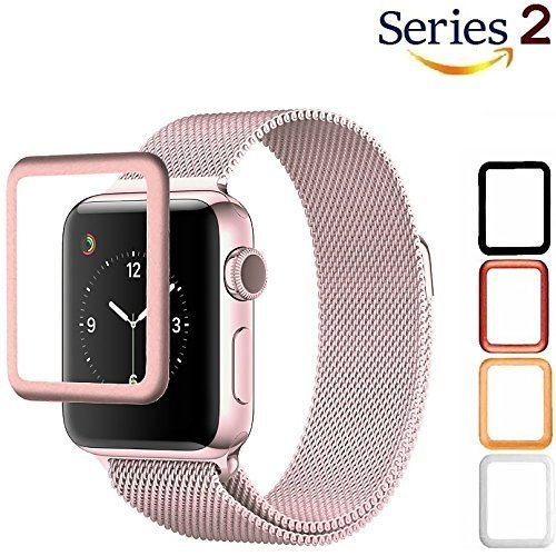 Josi Minea Apple Watch [42mm] 3D Tempered Glass Screen Protector with Edge to Edge Coverage Anti-Scratch Ballistic LCD Cover Guard Premium HD Shield for Apple Watch Series 2 - 42mm (Premium Lcd Screen Protector)