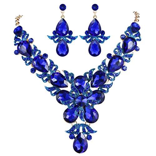 (EVER FAITH Rhinestone Crystal Wedding Flower Leaf Teardrop Necklace Earring Set Royal Blue Gold-Tone)