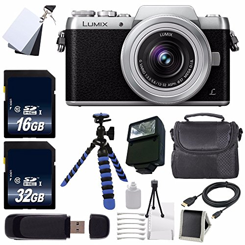 Panasonic Lumix DMC-GF7 Mirrorless Micro Four Thirds Digital Camera with 12-32mm f/3.5-5.6 ASPH. Lens (Black) + 16GB SDHC Class 10 Memory Card + 32GB SDHC Class 10 Memory Card + Carrying Case + External Flash + Micro HDMI Cable + 12-Inch Flexible Tripod with Gripping Rubber Legs + SD Card USB Reader + Memory Card Wallet + 3 Piece Digital Grey Balance Cards Set + Deluxe Starter Kit Bundle - International Version (No Warranty)