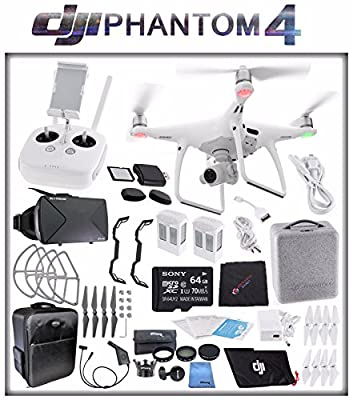 DJI Phantom 4 Quadcopter + Sony 64GB microSDXC Card + DJI Intelligent Flight Battery (2X TOTAL) + Card Reader + Cloth + Backpack + Car Charger & Adapter + 2 Pairs Propeller Blades (Grey) Bundle