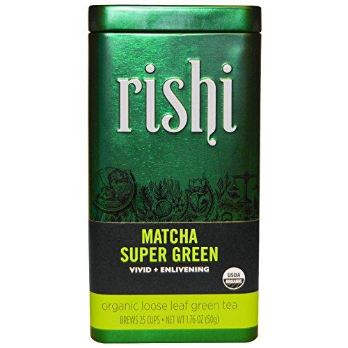 Rishi Tea, Organic Green Tea, Matcha Super Green, Loose Leaf Tea, 1.76 oz (50 g) - 2pcs