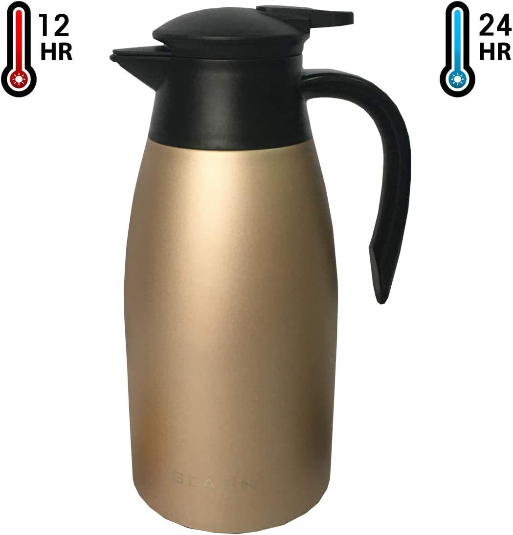 68Oz Thermal Carafes Insulated Coffee Thermos Stainless Steel Vacuum Pot Flask für Coffee, heiß Water, Tea, heiß Beverage (Bronze)