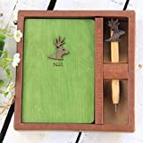 Best Pocket Notebook with Wood Pen Nice Unlined Journal Diary Deer Hardcover 5.2'' x 3.6'' Pages Notepad