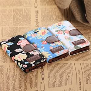 Flower Design PU Leather Stand Case With Card Holder For iPhone 5C --- Color:Blue