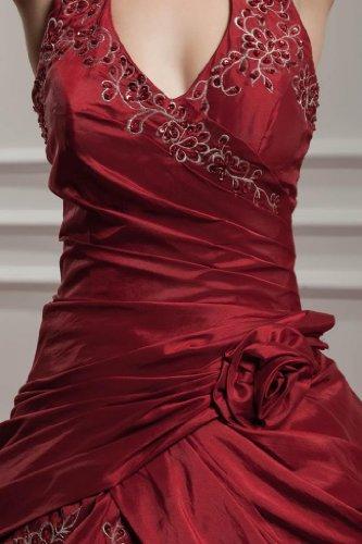 Halfter Taft GEORGE emroidery mit rotwein Abendkleid BRIDE wx5BAqPF