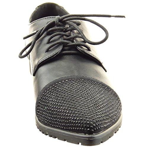 Sopily - Zapatillas de Moda zapato derby Tobillo mujer strass Talón Tacón ancho 2 CM - Negro